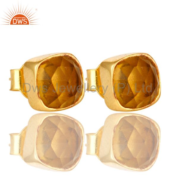 Citrine Hydro Cushion Cut 18K Gold Plated Sterling Silver Stud Earrings