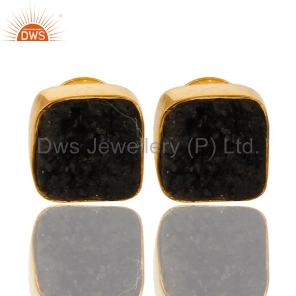 Black Druzy Agate Stud Earrings In 18K Gold Over Sterling Silver