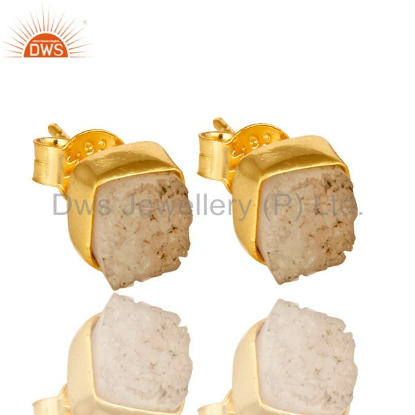18K Yellow Gold Over Sterling Silver White Agate Druzy Stud Earrings