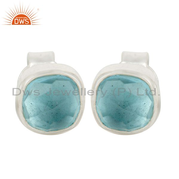 Handmade Sterling Silver Hydro Blue Topaz Womens Fashion Stud Earrings