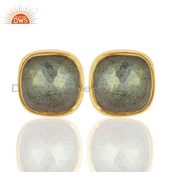 Natural Labradorite Gemstone Stud Earrings In 18K Gold Over Sterling Silver