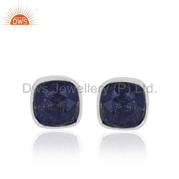 Lapis Lazuli Gemstone 925 Silver Handmade Stud Earrings Manufacturer from India