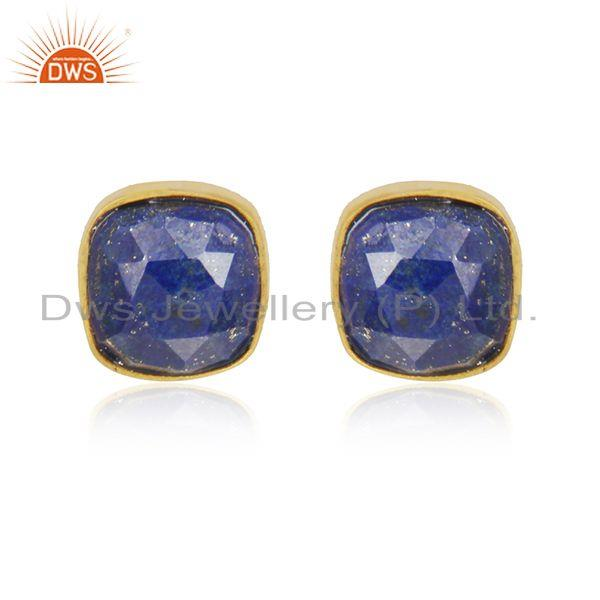 Natural Lapis Lazuli Gemstone Stud Earrings In 18K Gold Over Sterling Silver