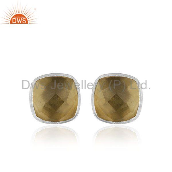 Lemon Topaz Gemstone Solid 925 Silver Custom Stud Earring Jewelry Manufacturer