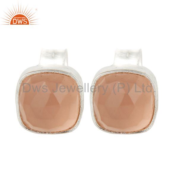 925 Sterling Silver Rose Chalcedony Womens Fashion Cushion Stud Earrings