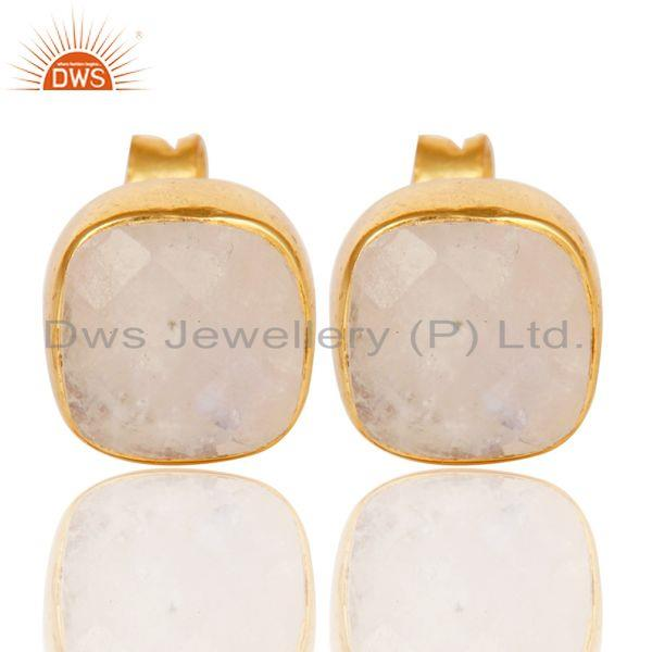 14K Yellow Gold Plated Sterling Silver Rainbow Moonstone Womens Stud Earrings