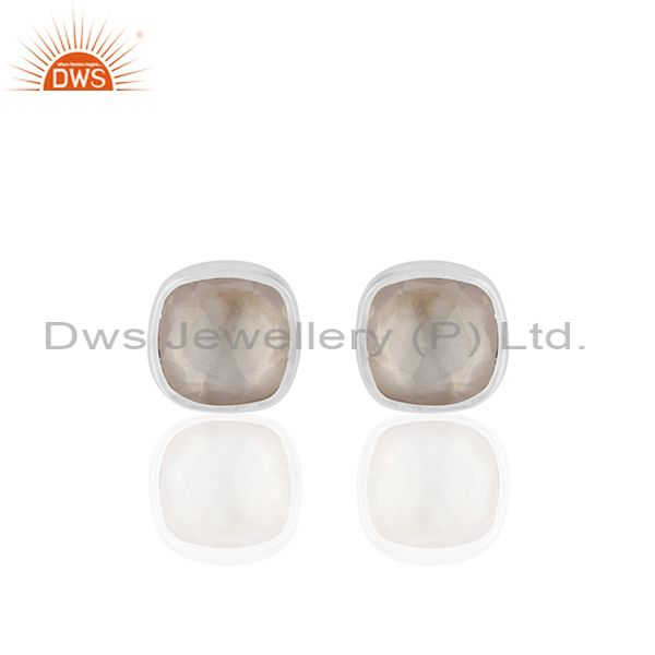 Rose Quartz Gemstone 925 Silver Handmade Custom Stud Earrings Manufacturer