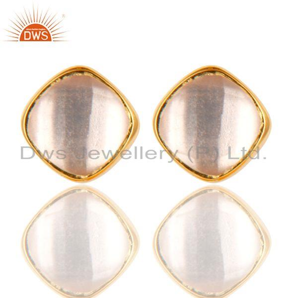 14K Yellow Gold Plated 925 Sterling Silver Rose Quartz Womens Stud Earrings