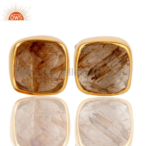 14K Yellow Gold Plated Sterling Silver Rutilated Quartz Womens Stud Earrings