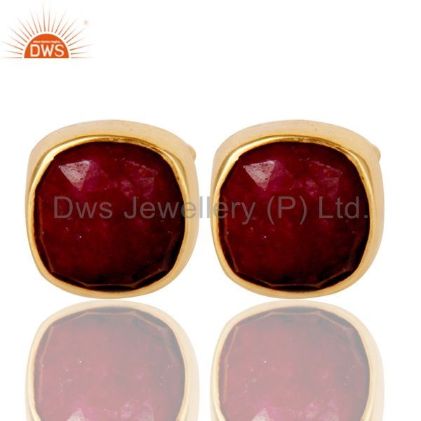 Natural Ruby Corundum 18K Yellow Gold Plated Sterling Silver Stud Earrings