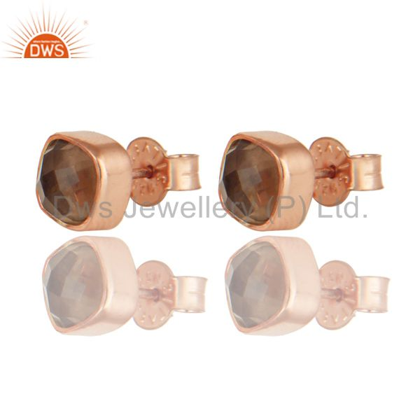 18k Rose Gold Over Sterling Silver Natural Smoky Quartz Stud Earrings