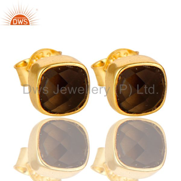 Smoky Quartz Stud Earrings in 14K Yellow Gold Over Sterling Silver