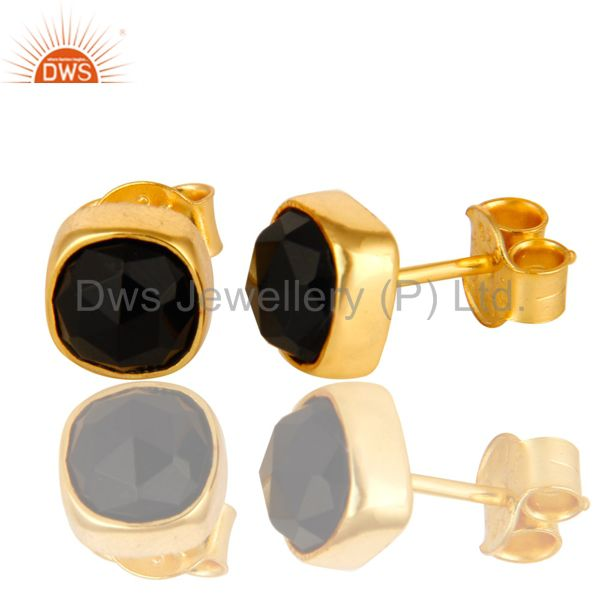 14K Yellow Gold Over Sterling Silver Black Onyx Gemstone Stud Earrings