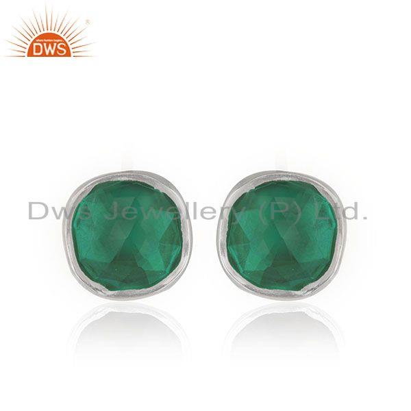 Customized Sterling Silver Green Onyx Gemstone Stud Earring Jewelry Manufacturer