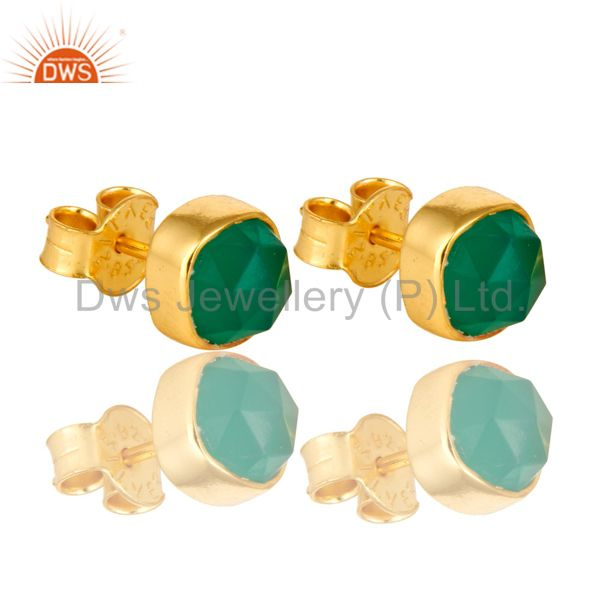 14K Yellow Gold Over Sterling Silver Natural Green Onyx Stud Earrings