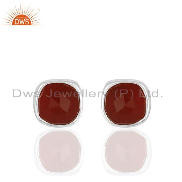Handmade Red Onyx Gemstone 925 Silver Custom Stud Earring Jewelry Manufacturer