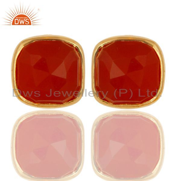 14K Yellow Gold Over  Sterling Silver Natural Red Onyx Studs Earrings