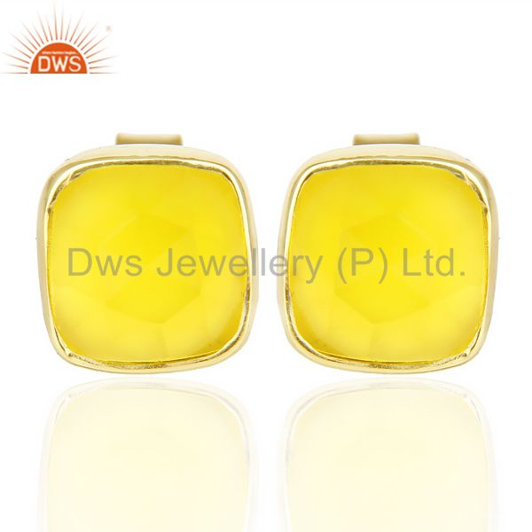 Yellow Chalcedony Cushion Rose Cut Small 14 K gold Plated Stud Earring