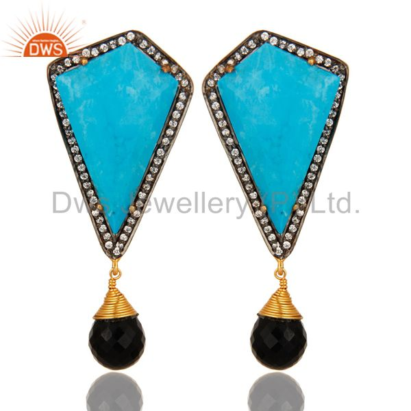 18K Gold Over Sterling Silver Turquoise And Black Onyx Post Stud Dangle Earrings