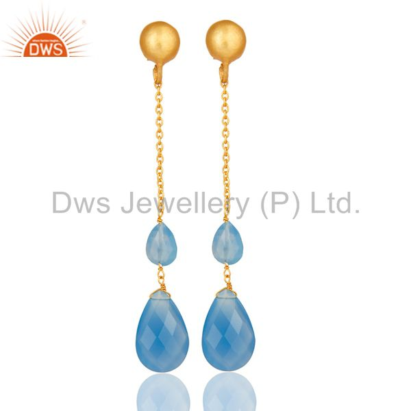 22K Yellow Gold Plated Sterling Silver Blue Chalcedony Chain Dangle Earrings