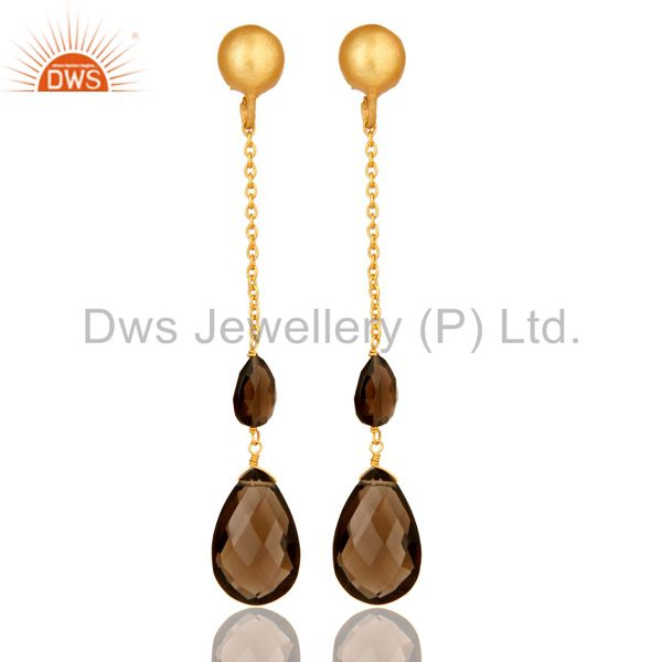 22K Yellow Gold Plated Sterling Silver Smoky Quartz Briolette Chain Drop Earring