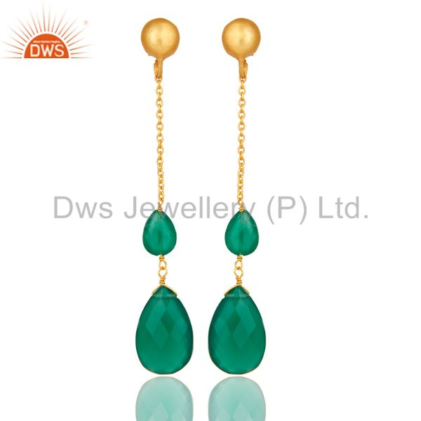 22K Yellow Gold Plated Sterling Silver Green Onyx Briolette Chain Drop Earrings