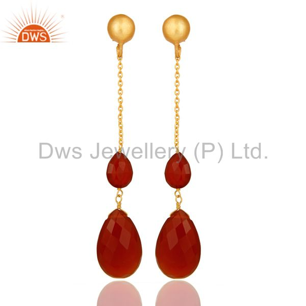 22K Yellow Gold Plated Sterling Silver Red Onyx Briolette Chain Drop Earrings