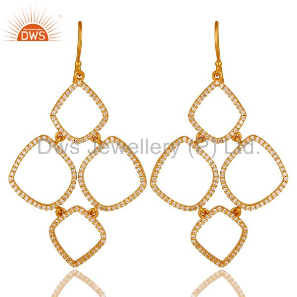 18K Gold Plated Sterling Silver Cubic Zirconia Multi Circle Dangle Earrings