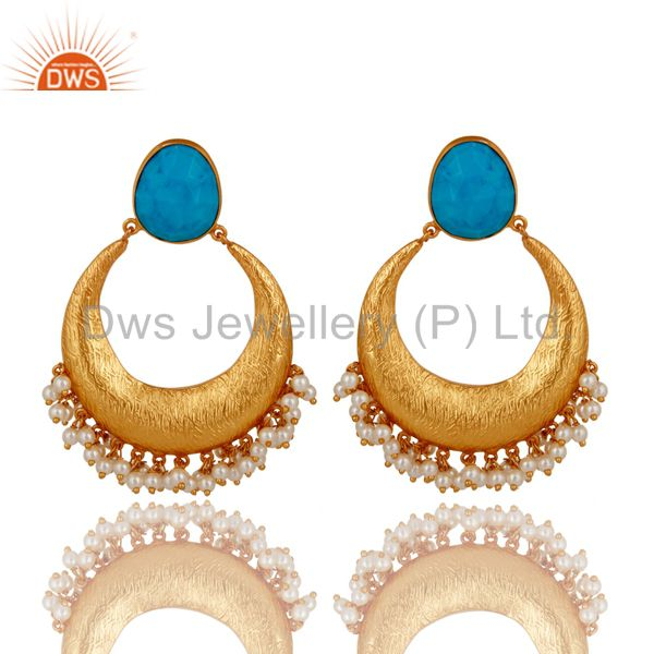 18K Yellow Gold Plated Sterling Silver Turquoise And Pearl Ethnic Dangle Earring