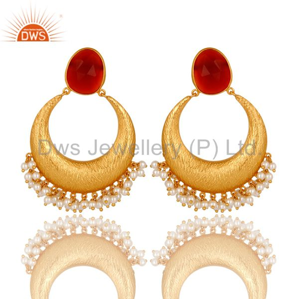 18K Yellow Gold Plated Sterling Silver Red Onyx And Pearl Ethnic Fashion Earring