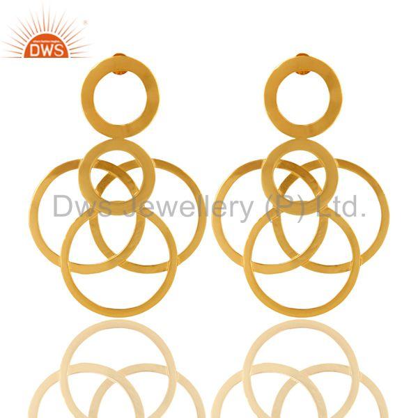 14K Yellow Gold Plated Sterling Silver Multi Open Circle Dangle Earrings
