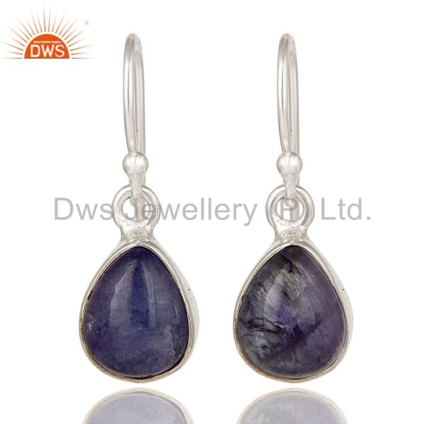 925 Sterling Silver Tanzanite Gemstone Bezel Setting Teardrop Earrings