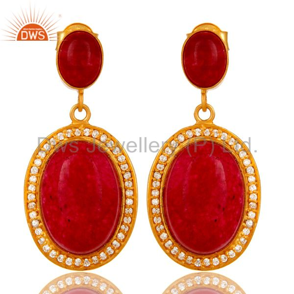 14K Yellow Gold Plated Sterling Silver Red Aventurine Dangle Earrings With CZ