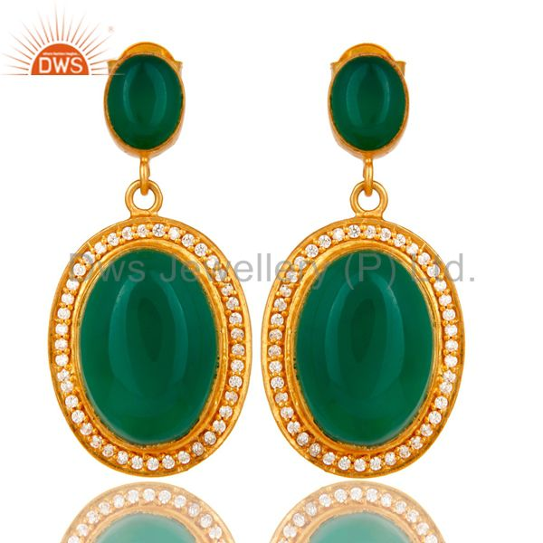 18K Yellow Gold Plated Sterling Silver Green Aventurine Dangle Earrings With CZ