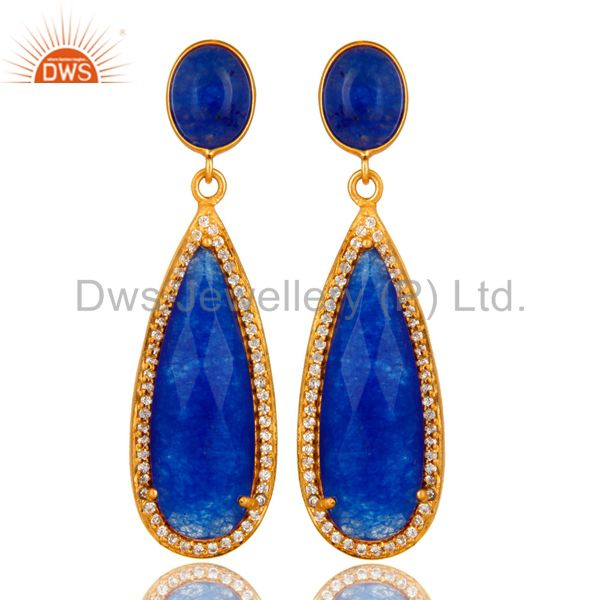 18K Yellow Gold Plated Sterling Silver Blue Aventurine Drop Earrings With CZ