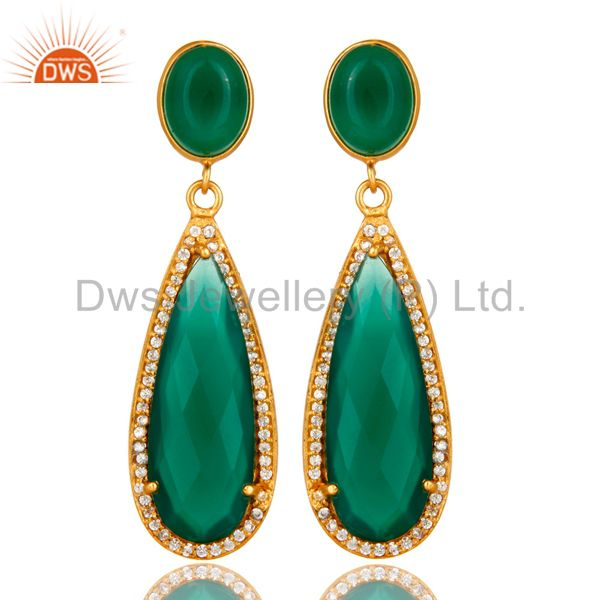 18K Yellow Gold Plated Sterling Silver Green Aventurine Drop Earrings With CZ