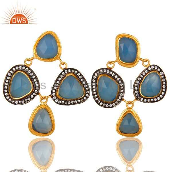 18K Gold Plated Sterling Silver Blue Chalcedony And CZ Chandelier Earrings