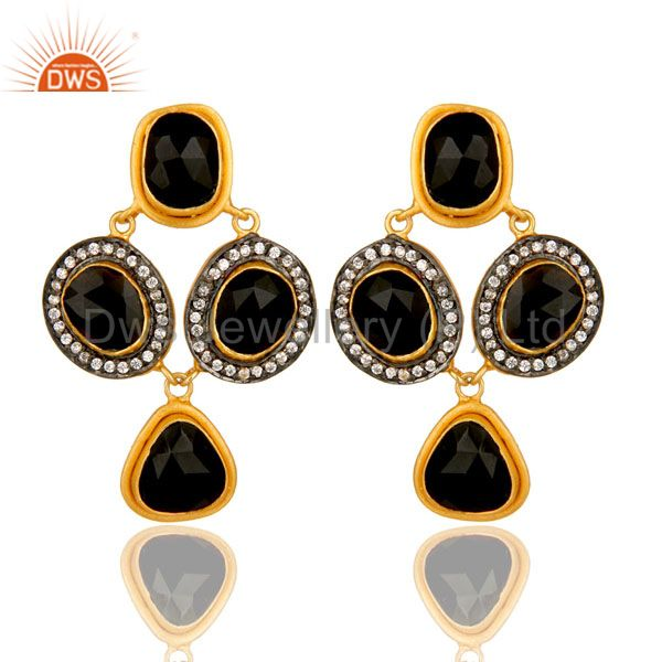 18K Yellow Gold Plated Sterling Silver Black Onyx And CZ Fashion Earrings