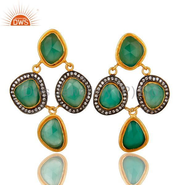 18K Yellow Gold Plated Sterling Silver Green Onyx And CZ Chandelier Earrings