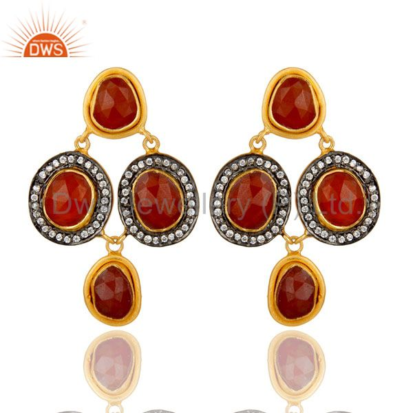 18K Yellow Gold Plated Sterling Silver Red Onyx And CZ Fashion Dangle Earrings