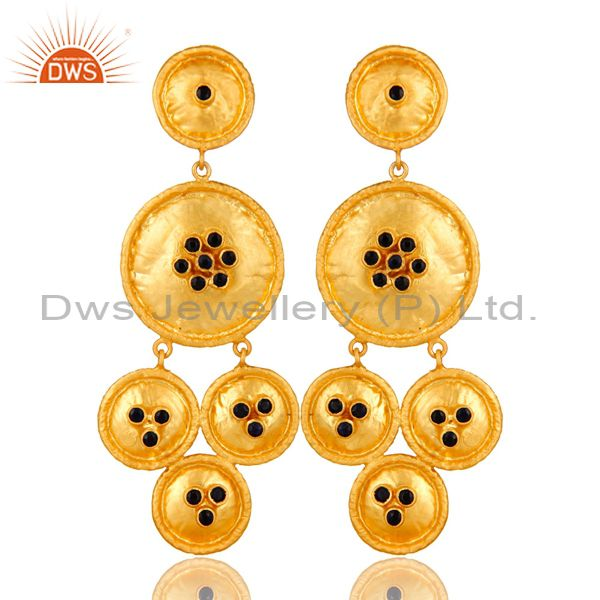 22K Yellow Gold Plated Sterling Silver Blue Sapphire Disc Chandelier Earrings