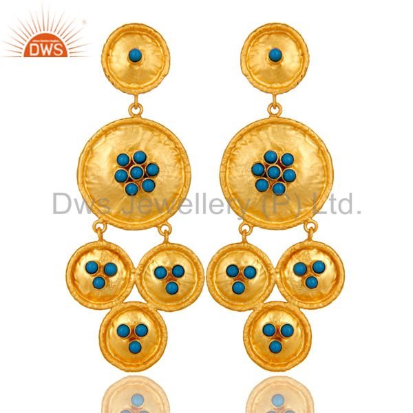 22K Matte Yellow Gold Plated Sterling Silver Turquoise Disc Chandelier Earrings