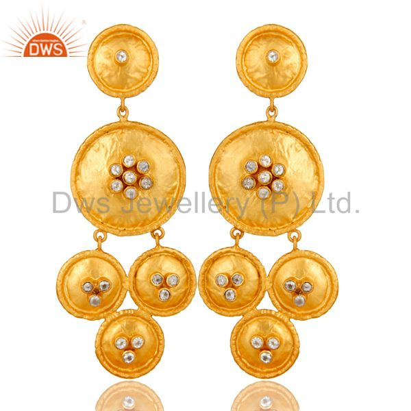 22K Matte Yellow Gold Plated Sterling Silver White Topaz Disc Chandelier Earring