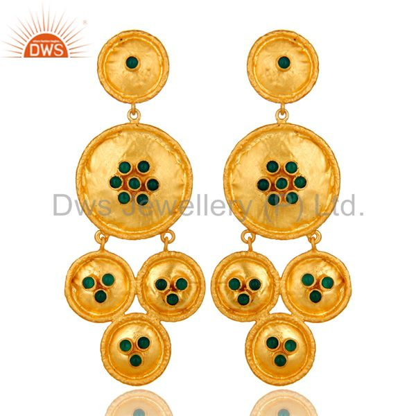 22K Matte Yellow Gold Plated Sterling Silver Green Onyx Disc Chandelier Earrings