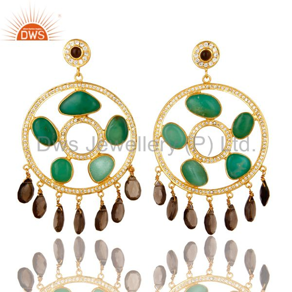 22K Gold Plated Sterling Silver Chrysoprase And Smoky Quartz Chandelier Earrings