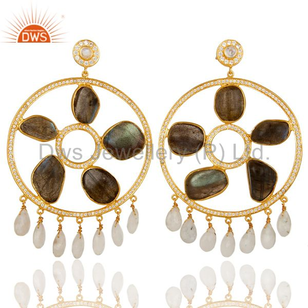 18K Gold Plated Silver Rainbow Moonstone And Labradorite Chandelier Earrings
