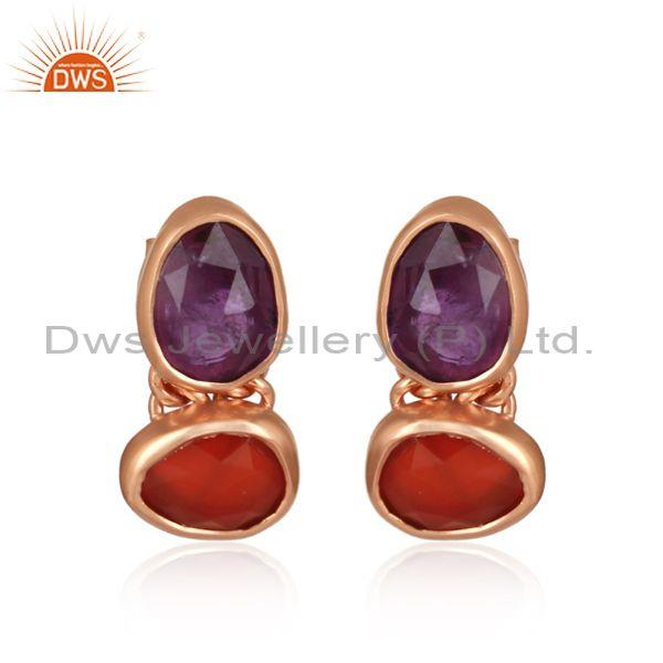 Amethyst And Red Onyx Checker Silver Rose Earrings