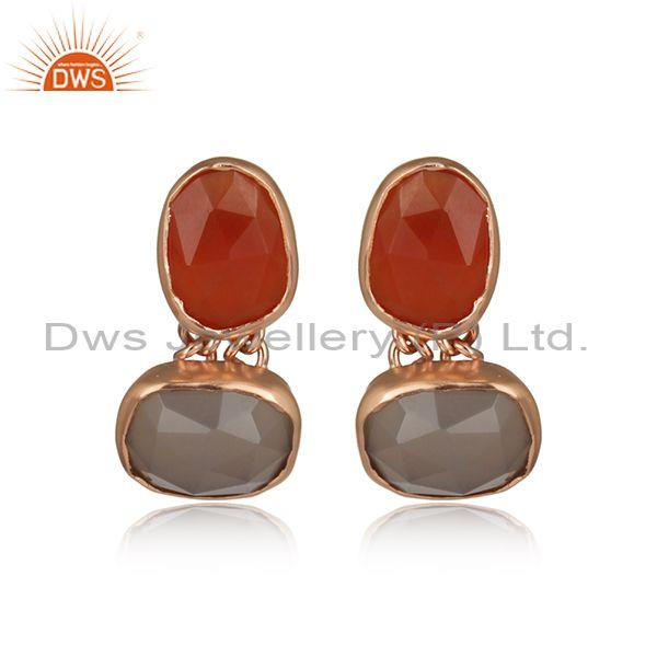 Gray and Carnelian Chalcedony Rose Gold On Silver Earring