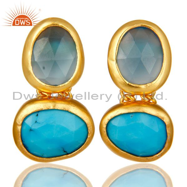 18K Yellow Gold Plated Sterling Silver Chalcedony And Turquoise Dangle Earrings