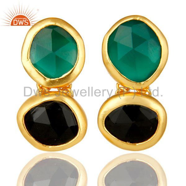 18K Yellow Gold Plated Sterling Silver Green Onyx And Black Onyx Dangle Earrings